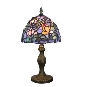 European Pastoral Retro Style Table Lamp Resin Base Dragonfly Gathering Flower Pattern Bedroom Living Room Dining Room Lights 8inch Lampshade