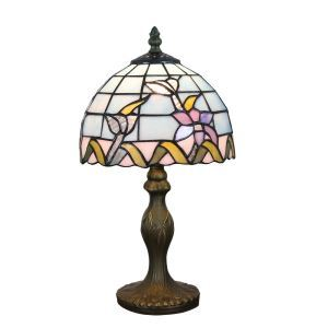 European Pastoral Retro Style Table Lamp Resin Base Colorful Flower Pattern Bedroom Living Room Dining Room Lights 8inch Lampshade