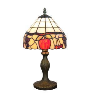 European Pastoral Retro Style Table Lamp Resin Base Colorful Fruit Pattern Bedroom Living Room Dining Room Lights 8inch Lampshade