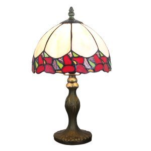 European Pastoral Retro Style Table Lamp Resin Base Colorful Flower Edge Bedroom Living Room Dining Room Lights 8inch Lampshade