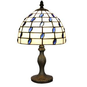 European Pastoral Retro Style Table Lamp Resin Base Blue Gem Rectangular Grid Pattern Bedroom Living Room Dining Room Lights 8inch Lampshade