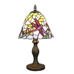 European Pastoral Retro Style Table Lamp Resin Base 红Dragonfly Pattern Bedroom Living Room Dining Room Lights 8inch Lampshade