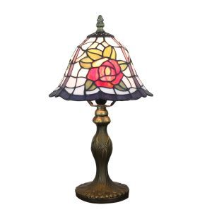 European Pastoral Retro Style Table Lamp Resin Base Red Rose Pattern Bedroom Living Room Dining Room Lights 8inch Lampshade