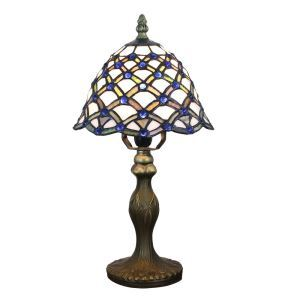 European Pastoral Retro Style Table Lamp Resin Base Blue Gem Colorful Pattern Bedroom Living Room Dining Room Lights 8inch Lampshade
