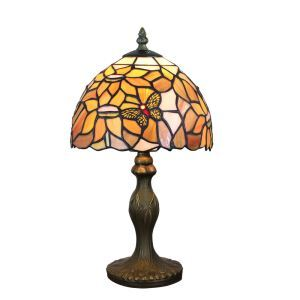 European Pastoral Retro Style Table Lamp Resin Base Butterfly and Flower Pattern Bedroom Living Room Dining Room Lights 8inch Lampshade