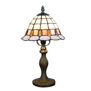 European Pastoral Retro Style Table Lamp Resin Base Grid Pattern and Orange Gem Bedroom Living Room Dining Room Lights 8inch Lampshade