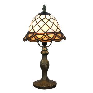 European Pastoral Retro Style Table Lamp Resin Base Grid Pattern Bedroom Living Room Dining Room Lights 8inch Lampshade