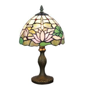 European Pastoral Retro Style Table Lamp Resin Base Dragonfly and Lotus Pattern Bedroom Living Room Dining Room Lights 8inch Lampshade