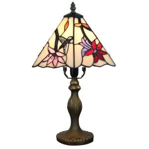 European Pastoral Retro Style Table Lamp Resin Base Hummingbird Gathering Flower Pattern Bedroom Living Room Dining Room Lights 8inch Lampshade