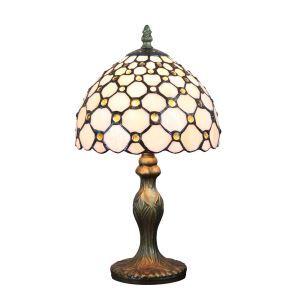 European Pastoral Retro Style Table Lamp Resin Base Embedding Gem Grid Pattern Bedroom Living Room Dining Room Lights 8inch Lampshade