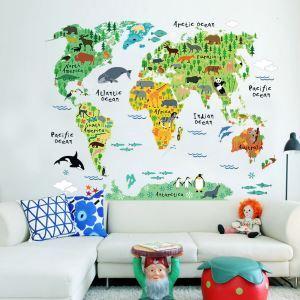 Cartoon Animal World Map PVC Plane Wall Stickers
