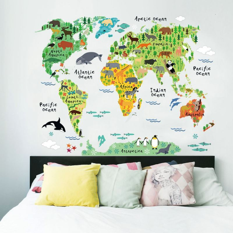 Modern style cartoon world map pvc plane wall stickers modern style cartoon world map pvc plane wall stickers img5 gumiabroncs Images