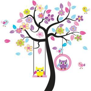 Cartoon Owl Chick Swing Colorful Tree PVC Plane Wall Stickers