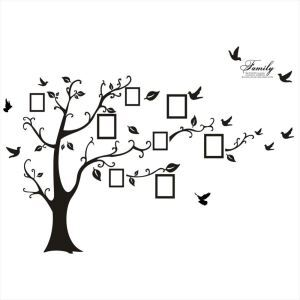 Modern Fashion Photo Frame Tree Black PVC Plane Wall Stickers