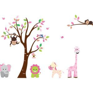 Cartoon Lion Elephant Zebra Giraffe Monkey Owl Bird Colorful Tree PVC Plane Wall Stickers