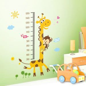Cartoon Giraffe Monkey Ruler PVC Plane Wall Stickers