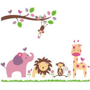 Cartoon Monkey Elephant Lion Giraffe Colorful Branches PVC Plane Wall Stickers