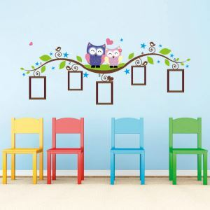 Cartoon Couple Owls Photo Wall PVC Plane Wall Stickers