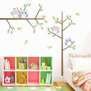 Cartoon Owls and Little Colorful Tree PVC Plane Wall Stickers