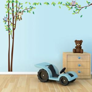 Modern Style Cartoon Owl Monkey and Little Tree Colorful PVC Plane Wall Stickers
