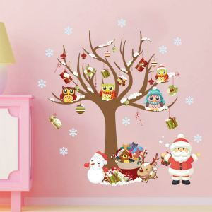 Cartoon Santa Claus Christmas Tree Colorful PVC Plane Wall Stickers