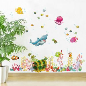 Cartoon Undersea Scenery Colorful PVC Plane Wall Stickers