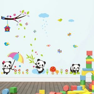 Modern Style Cartoon Little Panda Colorful PVC Plane Wall Stickers