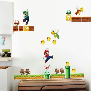 Cartoon Game Character Super Mario PVC Plane Wall Stickers