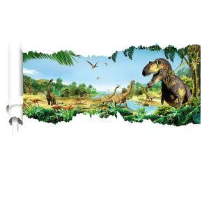 Modern Style Jurassic Park Dinosaur World PVC 3D Wall Stickers