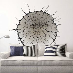 Modern Style Concave Crack Pit PVC 3D Wall Stickers