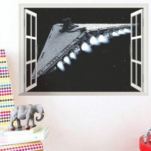Modern Style Star Wars Spacecraft Outside the Window PVC 3D Wall Stickers