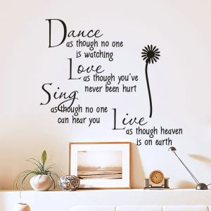 Dance As Though English Proverbs Black PVC Plane Wall Stickers
