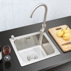 Kitchen Sink Single Bowl # 304 Stainless Steel Sink Topmount Sink S4237 Silver (Faucet Not Included)
