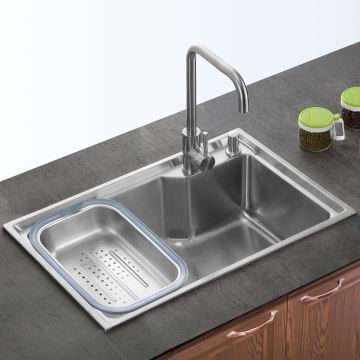 Kitchen Sink Single Bowl 304 Stainless Steel Topmount 27in Silver Faucet Not Included S6845m