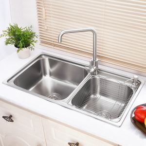 Kitchen Sink 2 Bath Sink # 304 Stainless Steel Sink Topmount Sink AOM7239  Silver (Faucet Not Included)