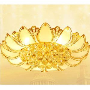 Modern LED Gold Crystal Ceiling Lights Lotus Shape 50cm With Glass Leaves For Bedroom Lighting (2621-50)