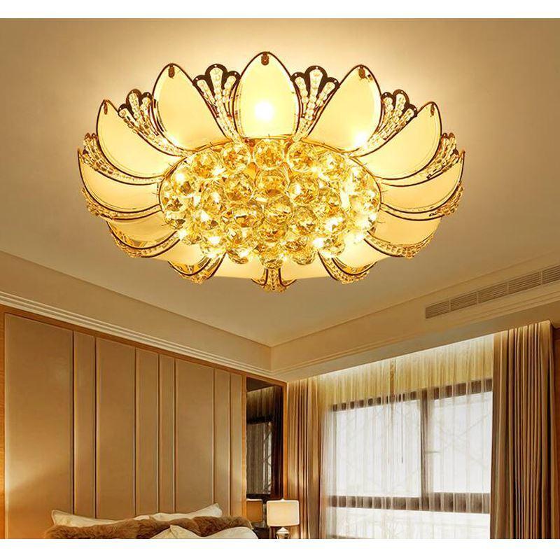 Lighting flush mounts modern led gold crystal ceiling lights lighting flush mounts modern led gold crystal ceiling lights lotus shape 50cm with glass aloadofball Gallery