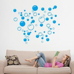 Bubble Mod PVC Plane Wall Stickers Black Pink Blue 3 Options