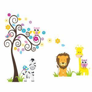 Cartoon Giraffe Lion Zebra Bird Owl Colorful Tree PVC Plane Wall Stickers
