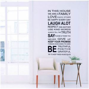WE ARE FAMILY English Motto Black PVC Plane Wall Stickers