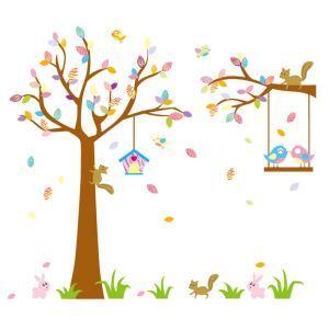 Cartoon Fox Rabbit Bird Green Grass Colorful Tree PVC Plane Wall Stickers