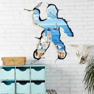 3D Man Shape Broken Wall Aegean Background PVC 3D Wall Stickers