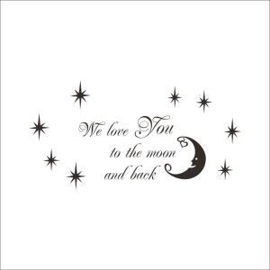 WE LOVE YOU English Motto Black Stars and Crescent Moon PVC Plane Wall Stickers