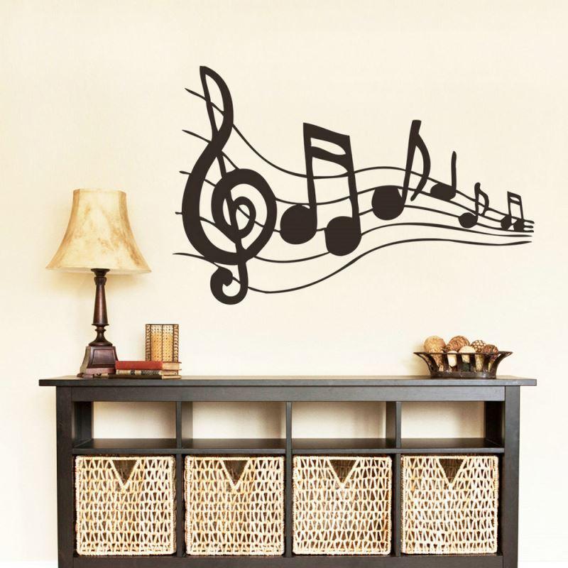 ... Rhythm Music Note Black PVC Plane Wall Stickers Img_5