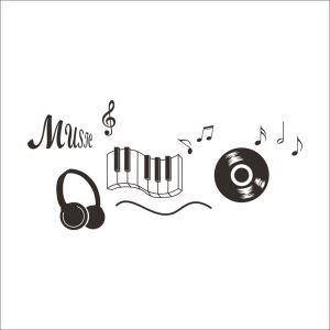 Music Earphone Organ Discs Black PVC Plane Wall Stickers