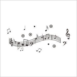 Rhythm Music Note PVC Plane Wall Stickers Black Red 2 Options