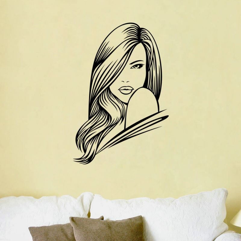 Modern Woman PVC Plane Wall Stickers Black Pink Purple 3 Options