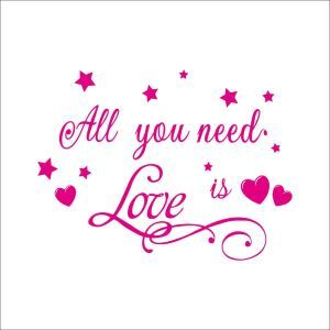 All You Need Is Love Pink PVC Plane Wall Stickers
