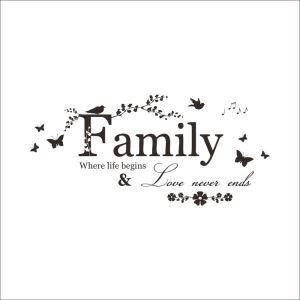 FAMILY English Motto Dark Brown PVC Plane Wall Stickers