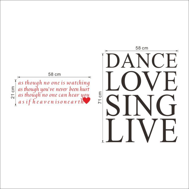 DANCE LOVE SING LIVE PVC Plane Wall Stickers Img 3